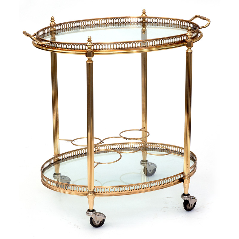 Compact Brass Oval Drinks Trolley with Removable Tray