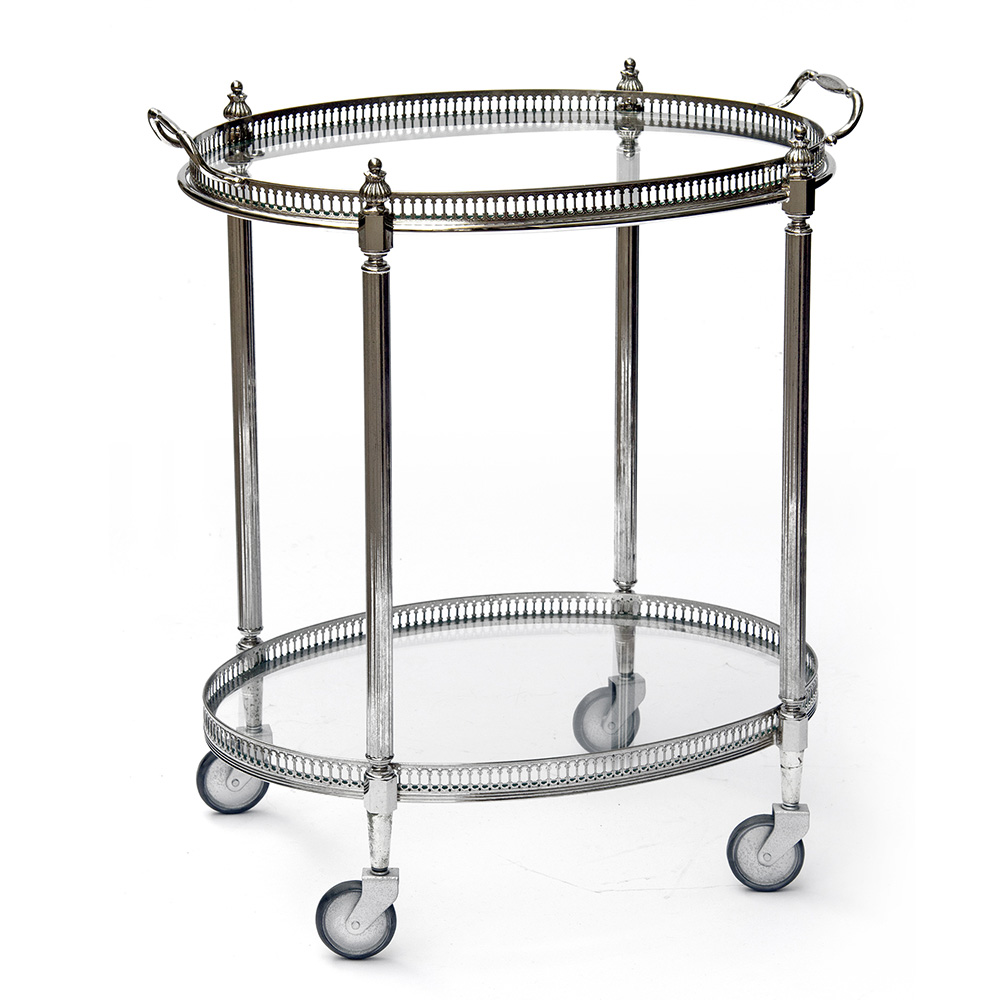 French Nickel Plated Trolley with Removable Tray