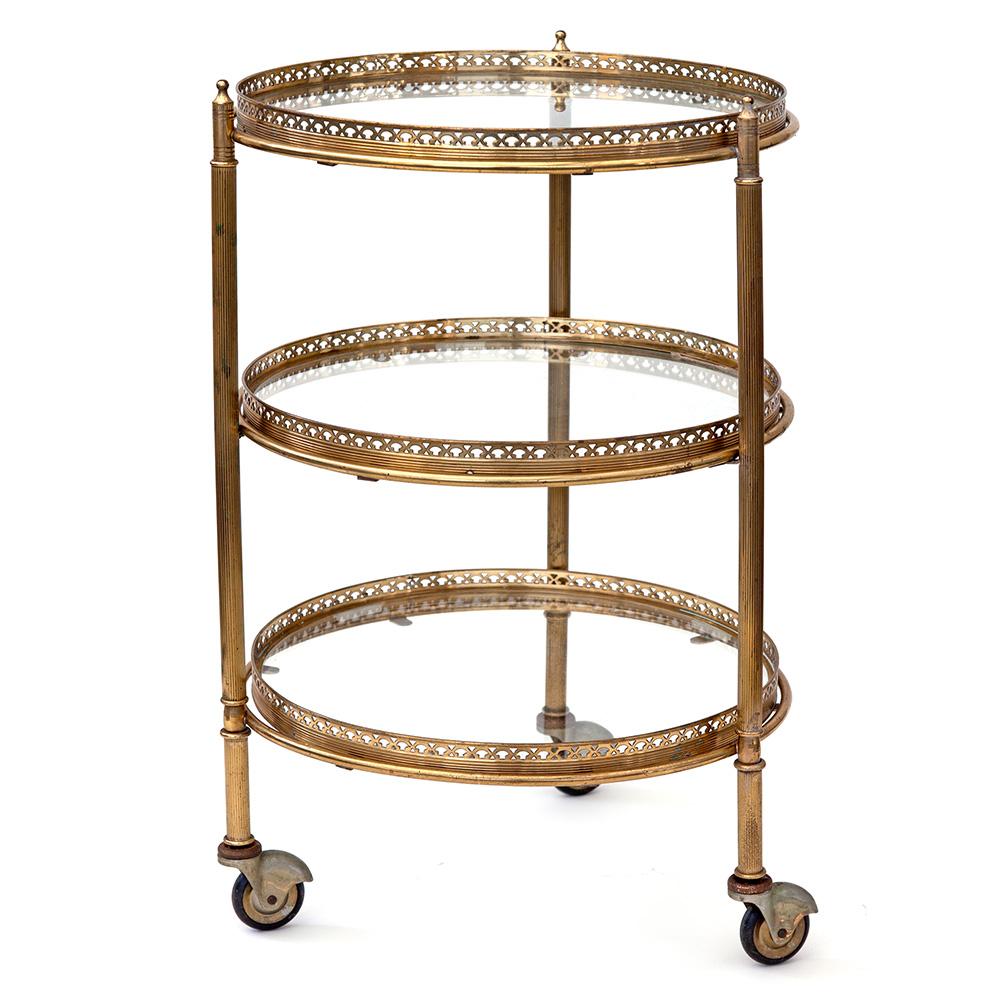 French Brass Triple Tier Drinks Trolley