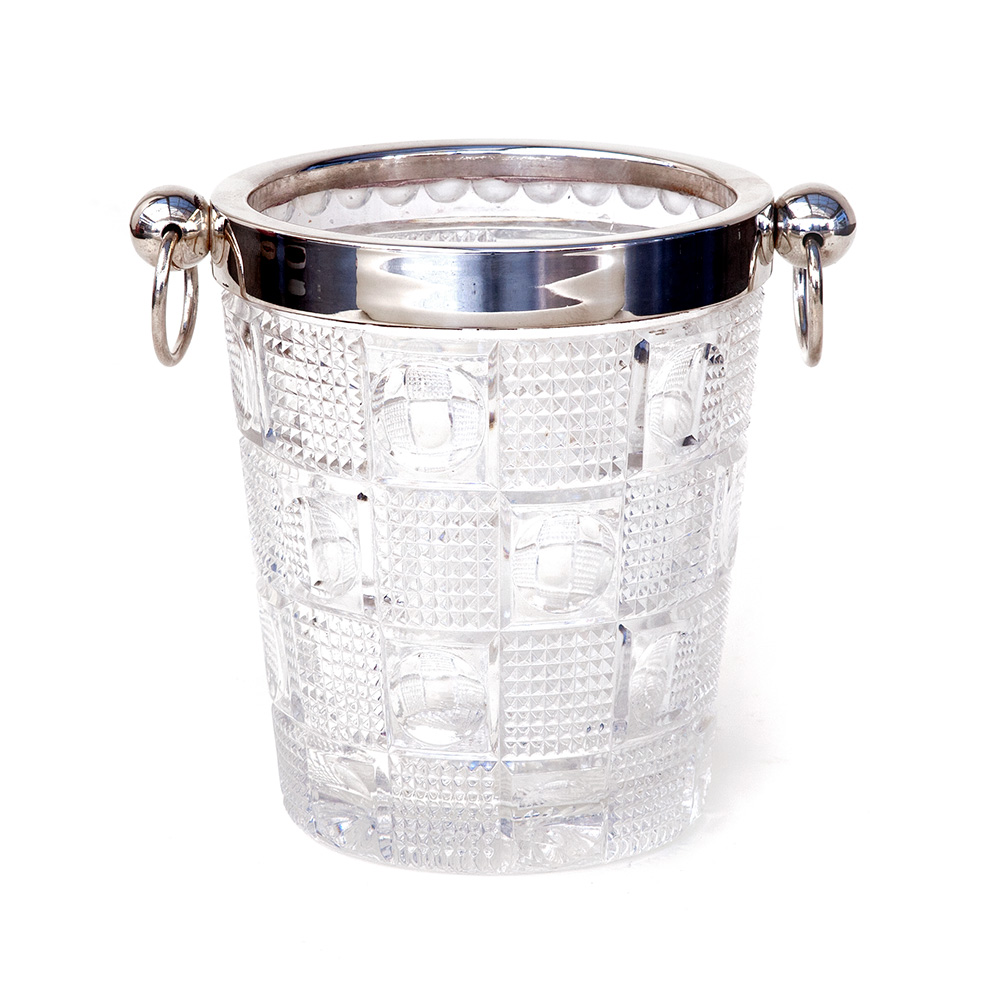 Mid 20th C. Glass and Silver Plate Ice Bucket with Ringed Handles