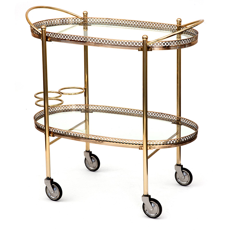 Vintage oval French brass drinks trolley bar cart with integral bottle holders. (c.1940)