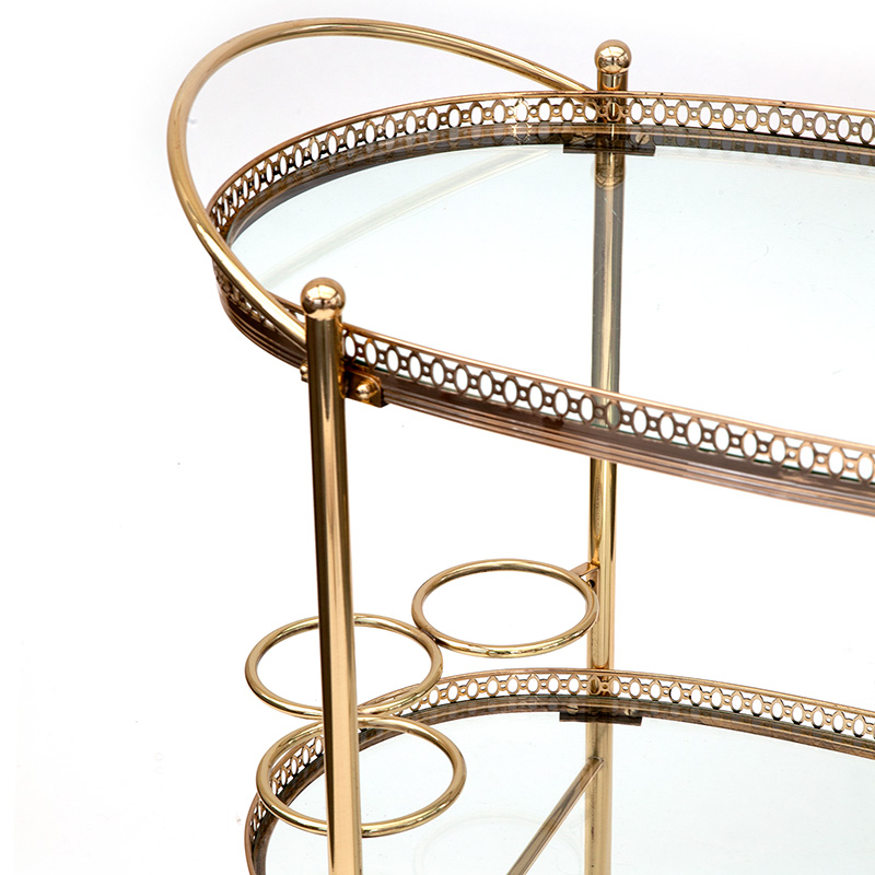 Oval French Brass Drinks Trolley with Integral Bottle Holders