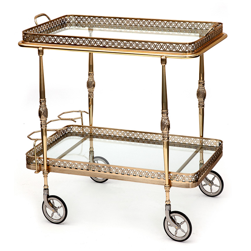 Vintage rectangular French brass drinks trolley with artillery wheels integrated bottle holders and removable tray. c.1940