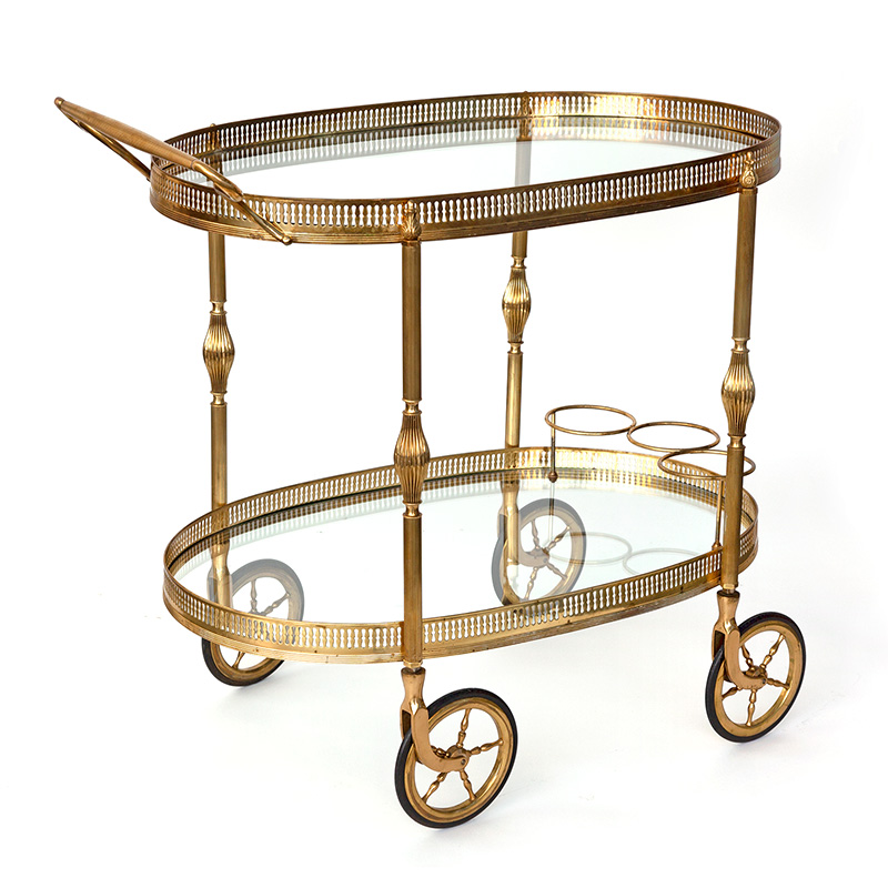 Vintage oval brass drinks trolley bar cart with large artillery wheels and bottle holders (c.1930)
