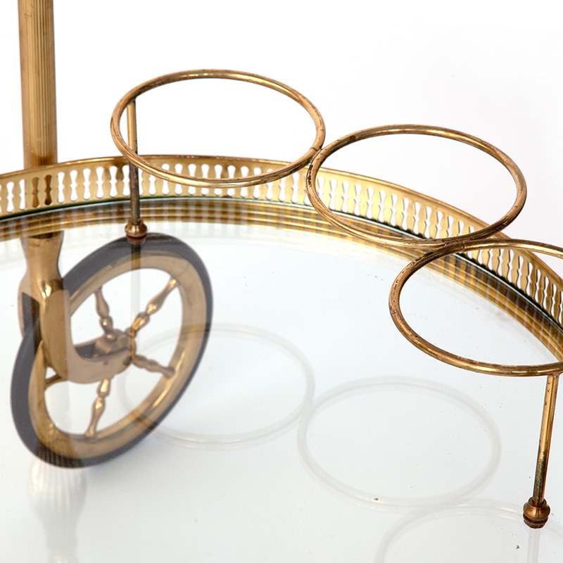 Oval Brass Drinks Cart with Large Artillery Wheels and Bottle Holders