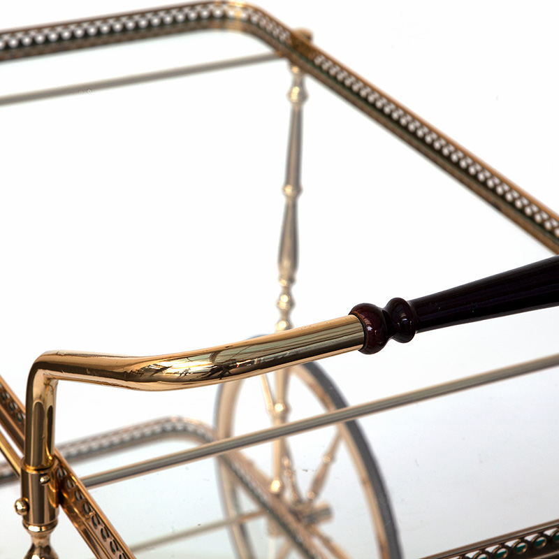 Brass Drinks Cart with Polished Wood Handle