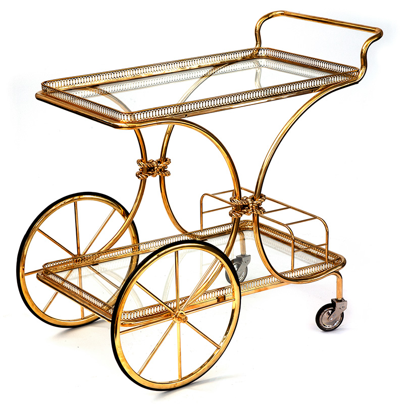 Super quality vintage French brass bar cart or drinks trolley (c.1960)
