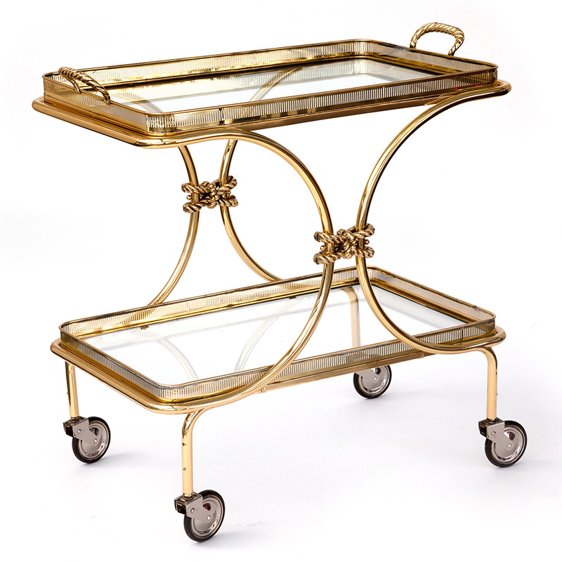 Two tier French brass bar cart or drinks trolley with removable tray (c.1960)
