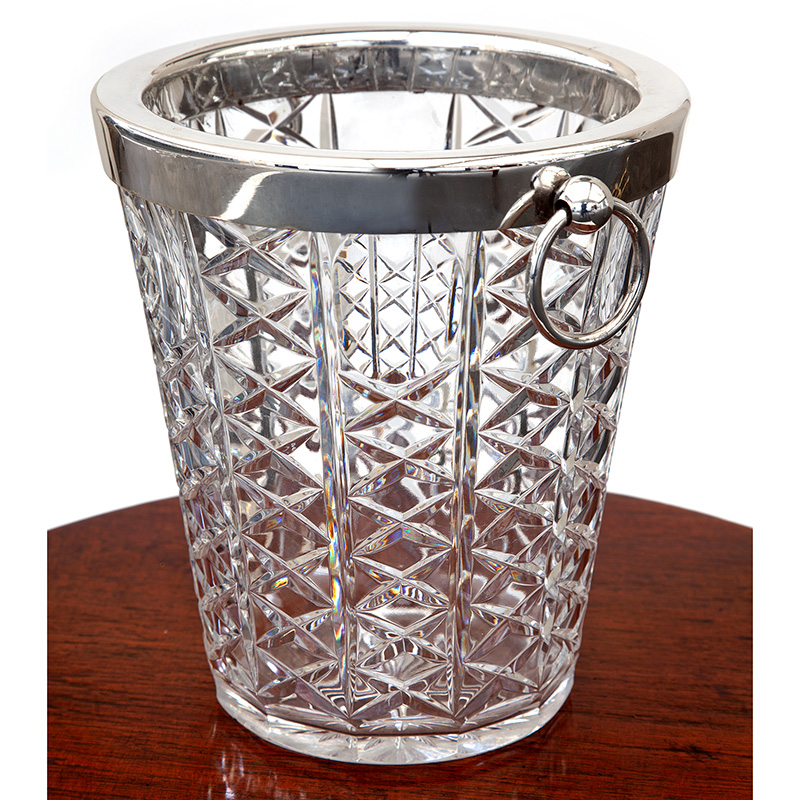 Heavy Glass Wine Cooler with Re-Silver Plated Rim and Handles