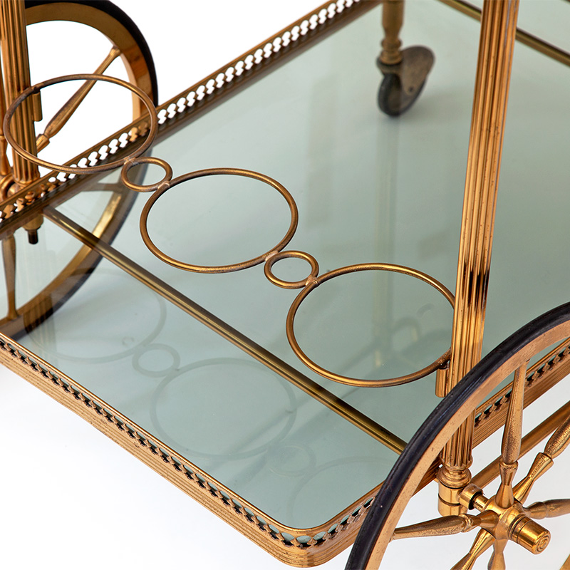 Original Condition French Brass Bar Cart with Smoked Glass Shelves