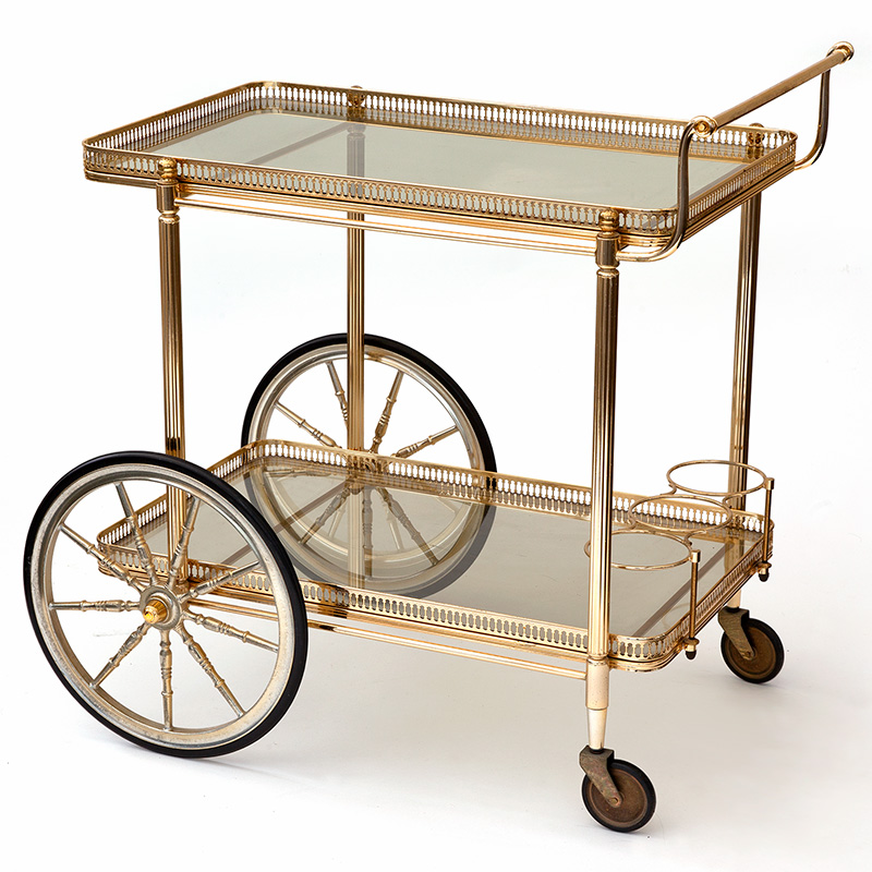 Vintage French Polished Brass Bar Cart Drinks Trolley