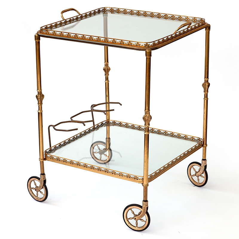 French Brass Bar Cart with Artillery Wheels and Removable Tray