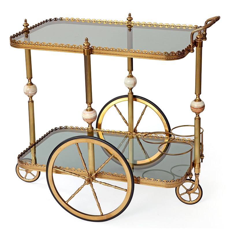 French Brass Bar Cart with Glass Marbelised Balls and Triple Bottle Carrier