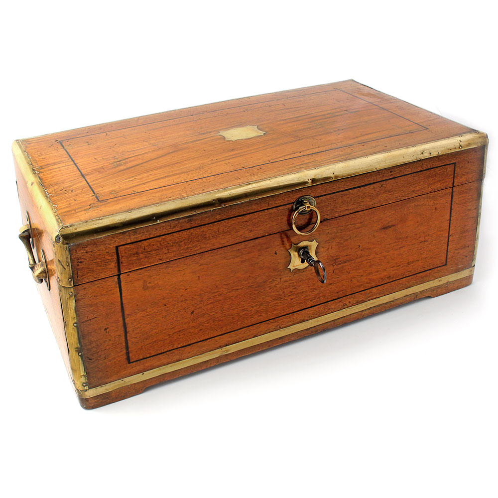 Antique brass rimmed camphor wood box with original key. (c.1870)