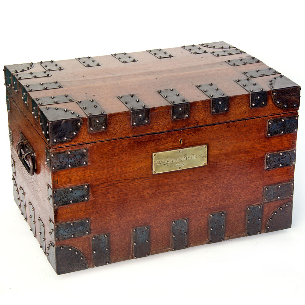 Antique iron clad polished oak silver chest by Garrads Crown Goldsmiths and Jewellers, Haymarket, London with Royal association.