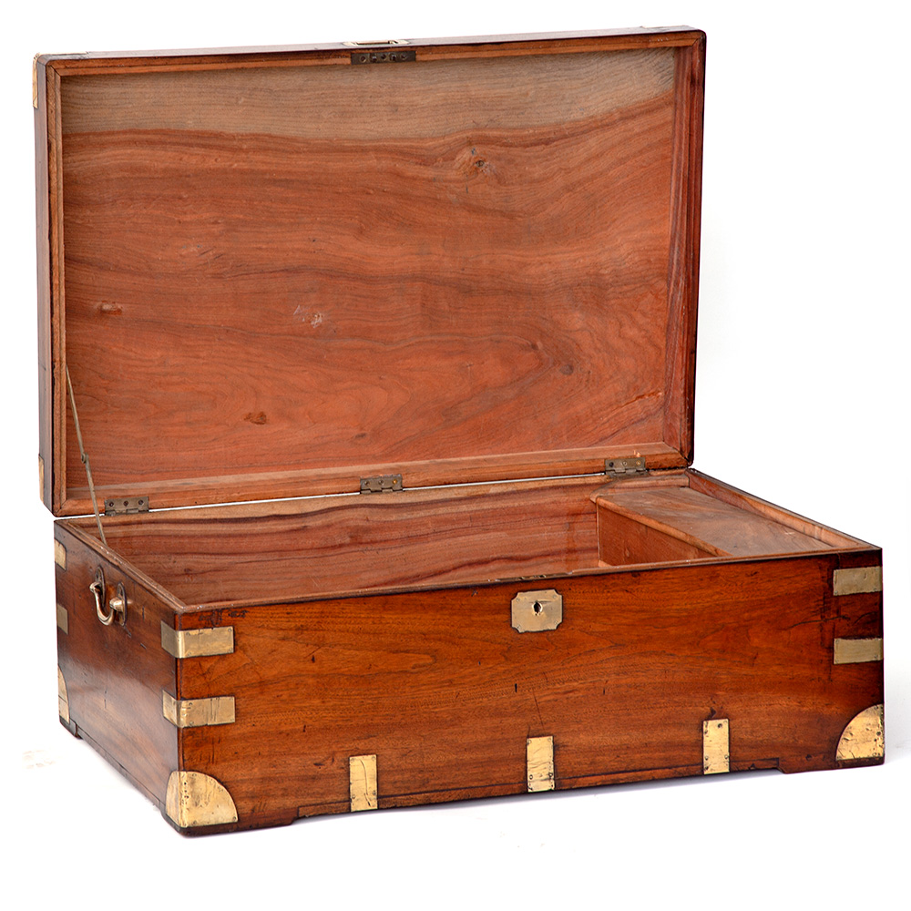 Unusually Low Brass Mounted Camphor Wood Chest