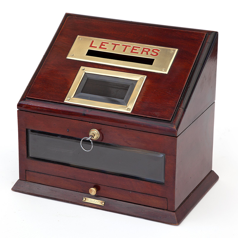 Antique brass mounted mahogany hotel or country house letterbox with bevelled glass windows and telegram drawer (c.1900)