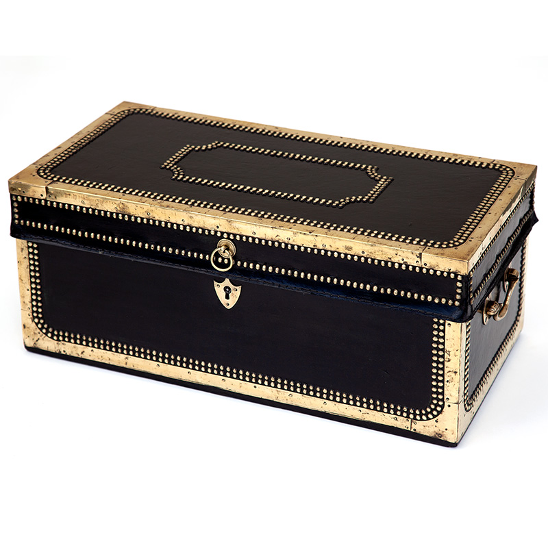 China Trade Hide Bound and Brass Mounted Camphorwood Travelling Chest