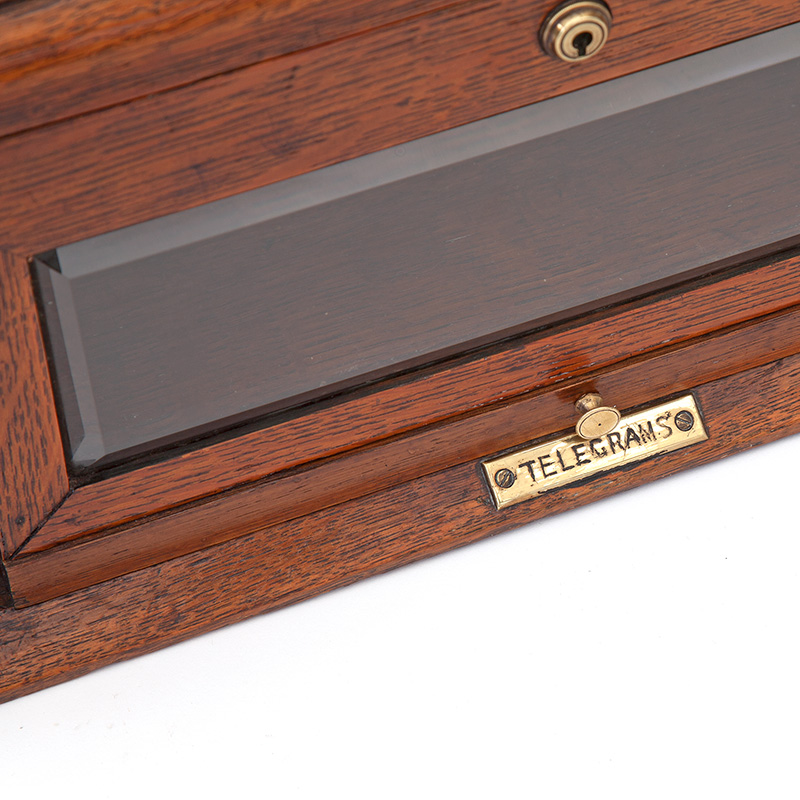 Antique Brass Mounted Oak Hotel or Country House Letterbox