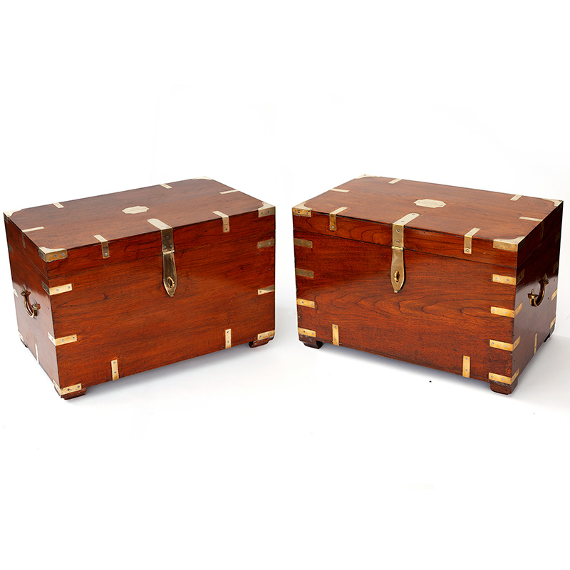 Pair of antique brass bound teak campaign chests with name plate. (c.1870)