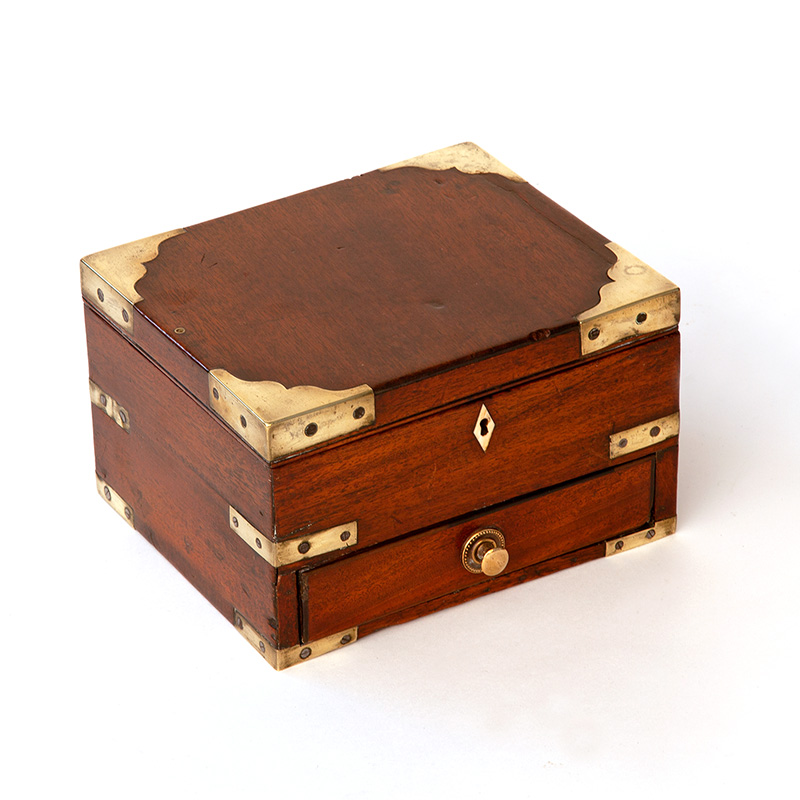 Brass Mounted Mahogany Campaign Style Table Top Box
