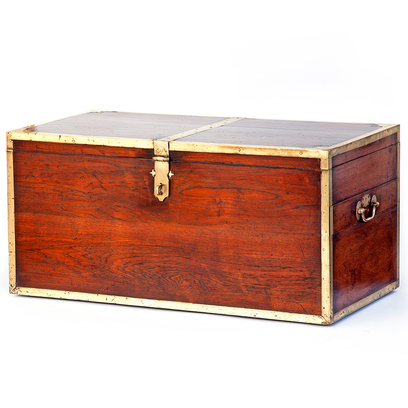Exceptional quality and size brass bound teak Sea Captains chest with glove box and security drawer. (c.1860).