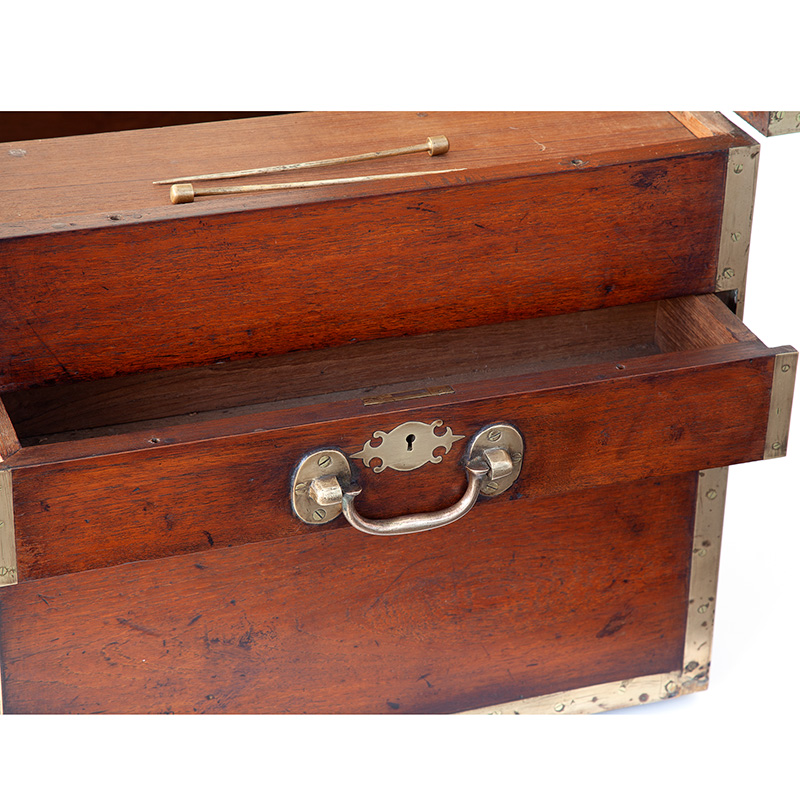 Exceptional Brass Bound Teak Sea Captains Chest