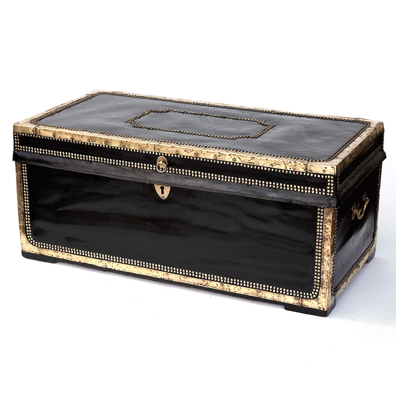 Regency Leather Bound and Brass Mounted Camphorwood Chest