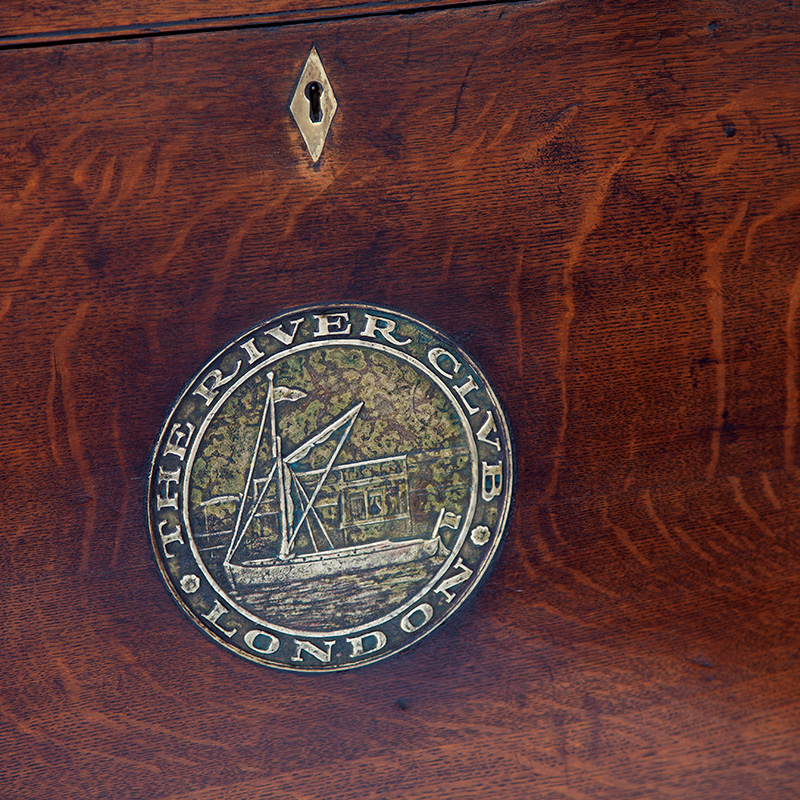 Large Polished Oak Brass Mounted Storage Box with Inset Brass Plaque