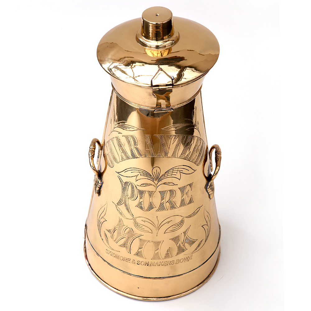 Engraved Brass Dairy Milk Churn with Detachable Lid