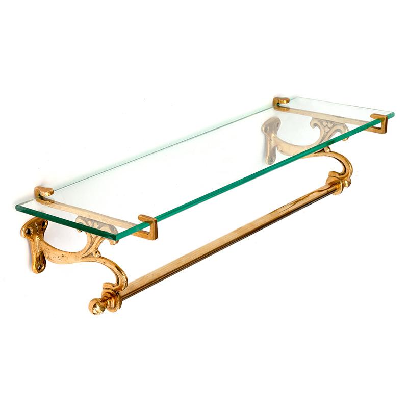 Brass Art Nouveau Bathroom Shelf with Towel Rail