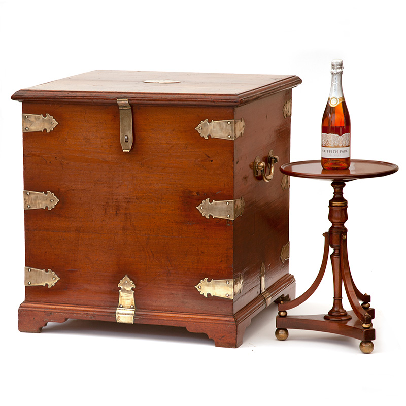 Polished Elm Brass Mounted Gentleman's Travelling Chest