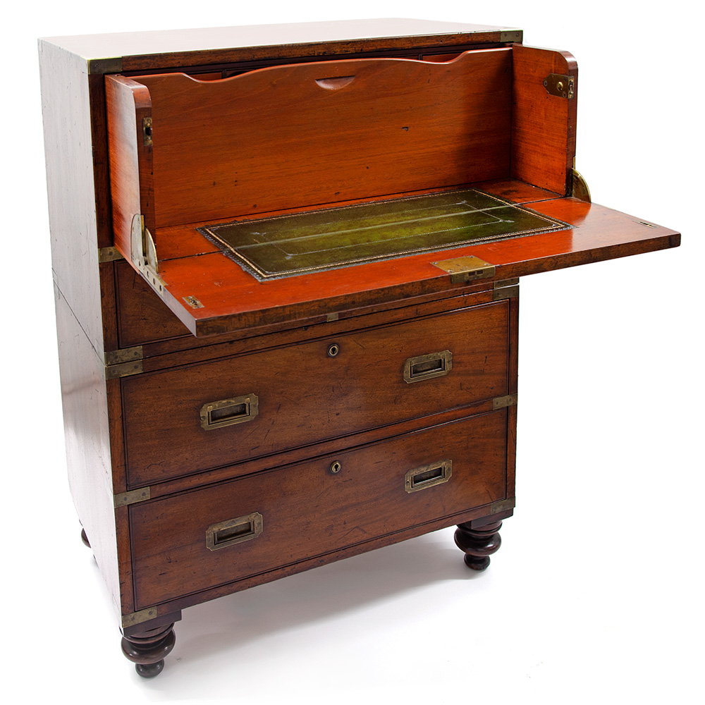 Small Mahogany Brass Mounted Two Section Campaign Secretaire