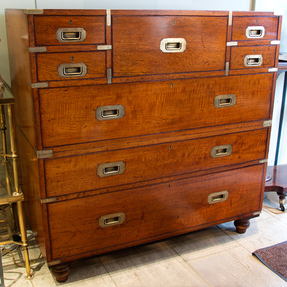 Large Army & Navy Stores Oak Campaign Chest on Chest