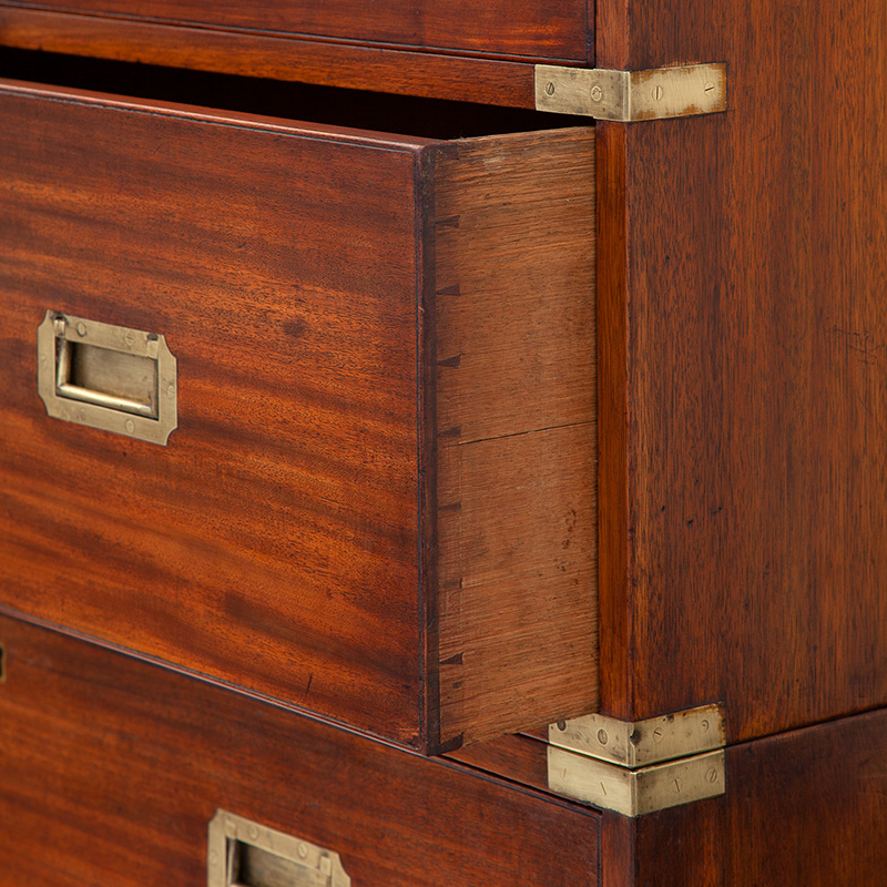 Super Condition Walnut Campaign Brass Mounted Chest on Chest