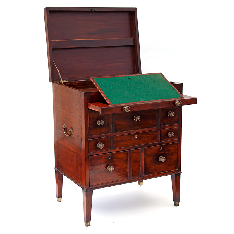 Mahogany Gentleman's Grand Tour Travelling Chest with Baized Writing Slope