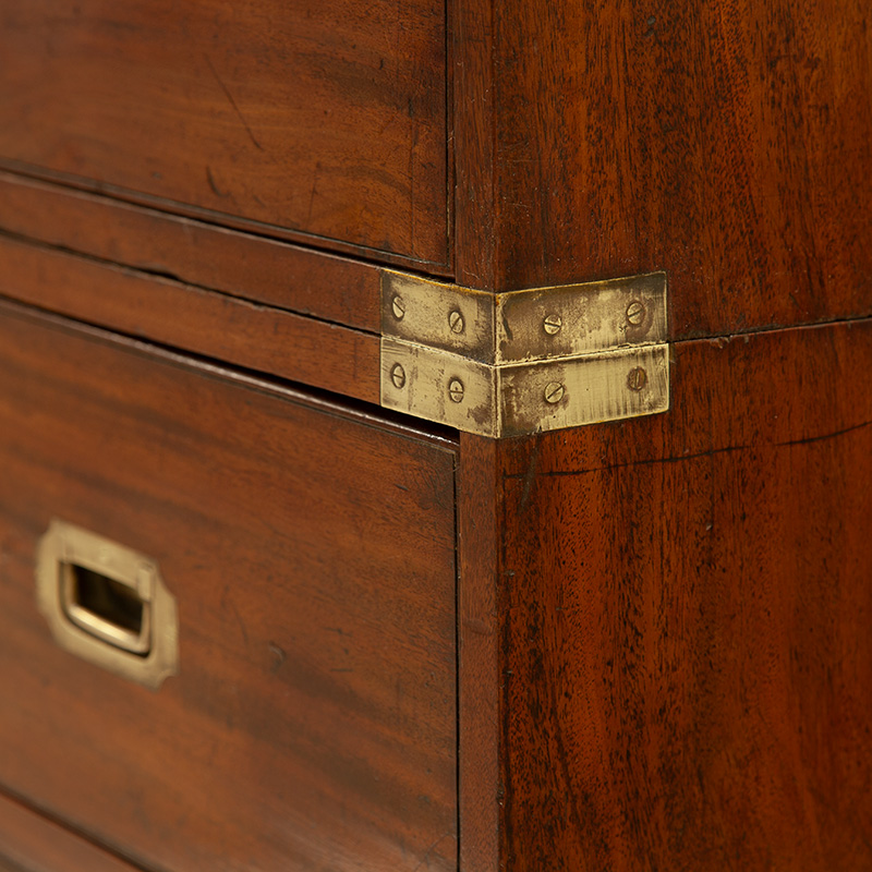 Mahogany Two Section Brass Mounted Campaign Chest on Chest