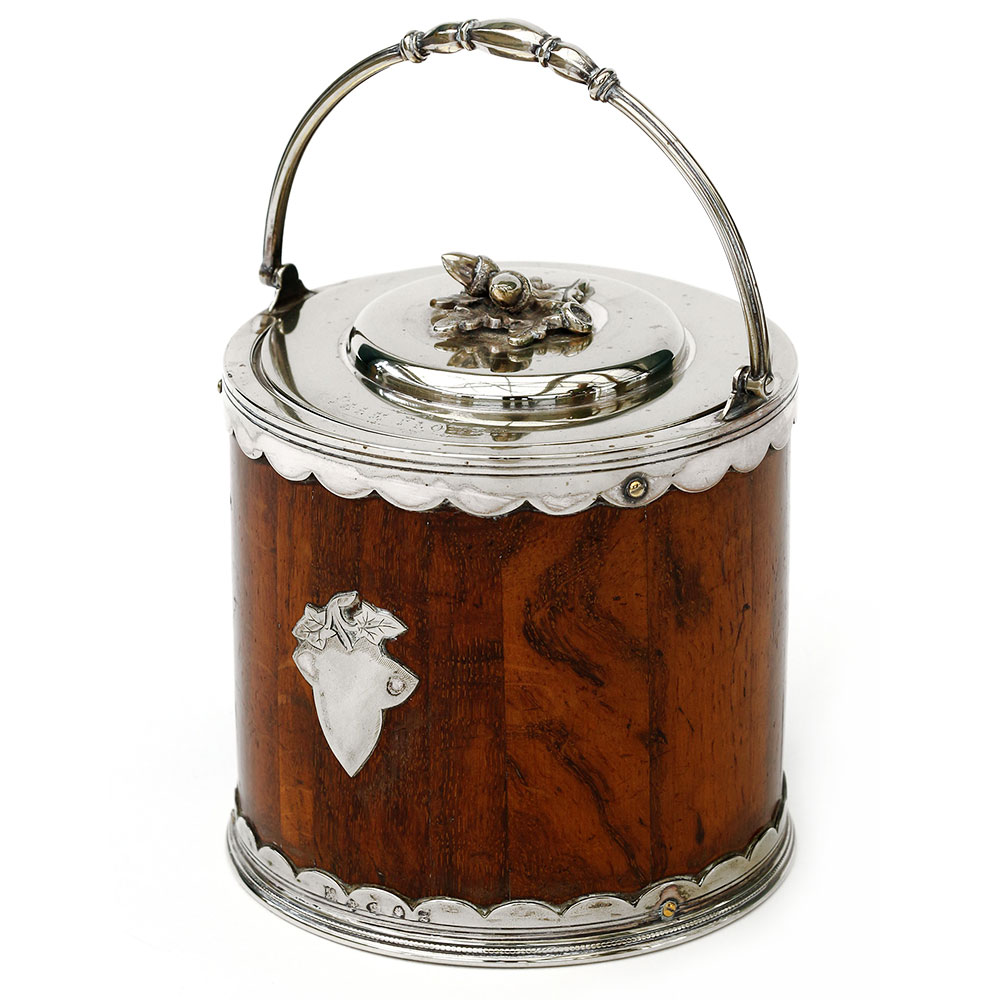 Antique oak and silver plate biscuit barrel with acorn finial and porcelain liner. (c.1880)