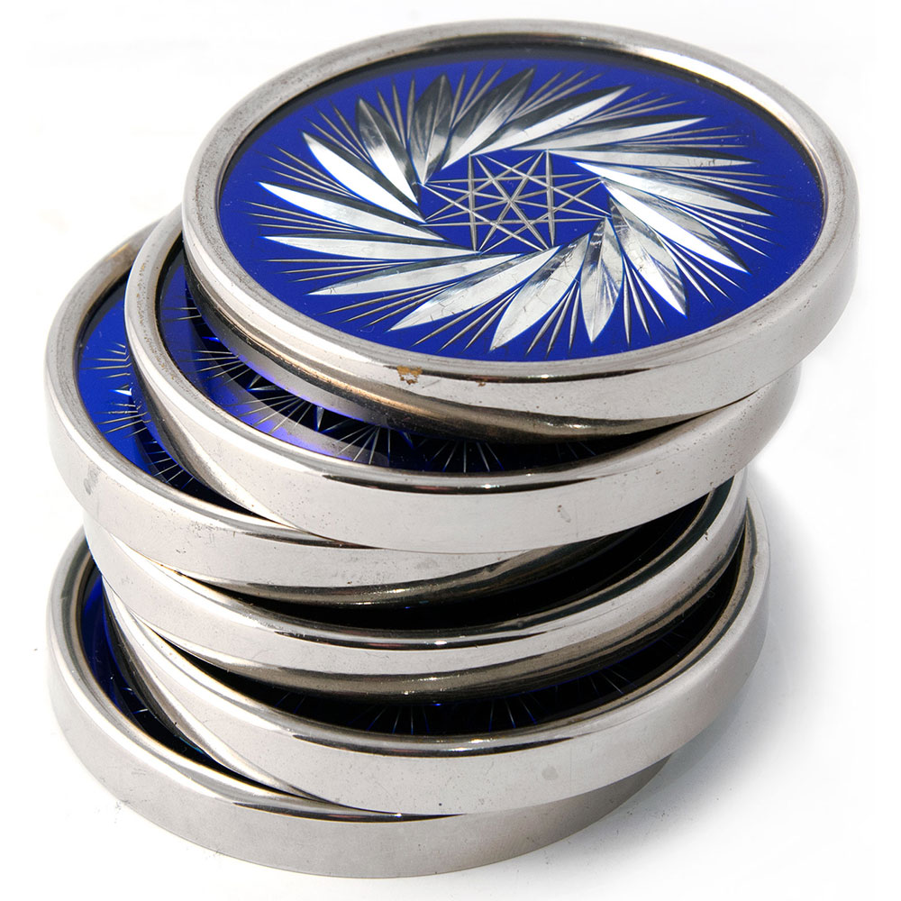 Set of six Bohemian glass cut and engraved heavy gauge wine coasters with raised silver plated rims. (c.1930)