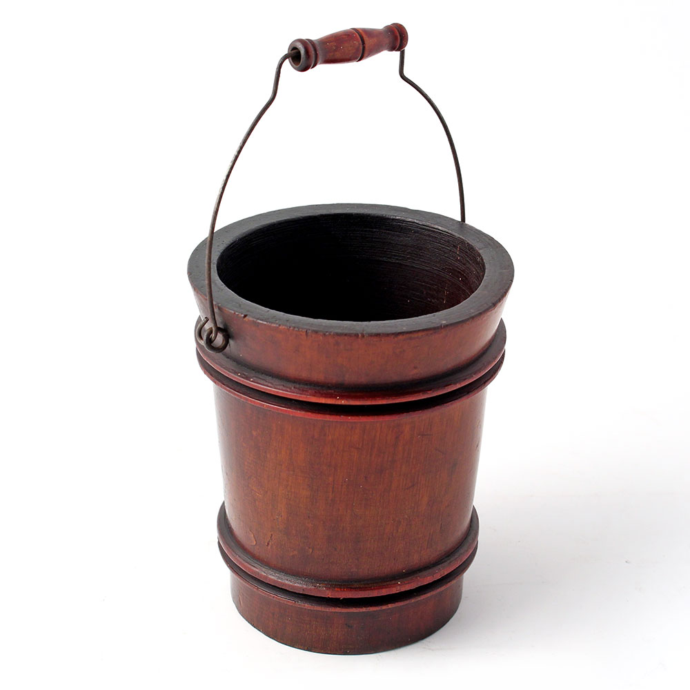 Antique turned mahogany miniature bucket with swing handle. (c.1900)