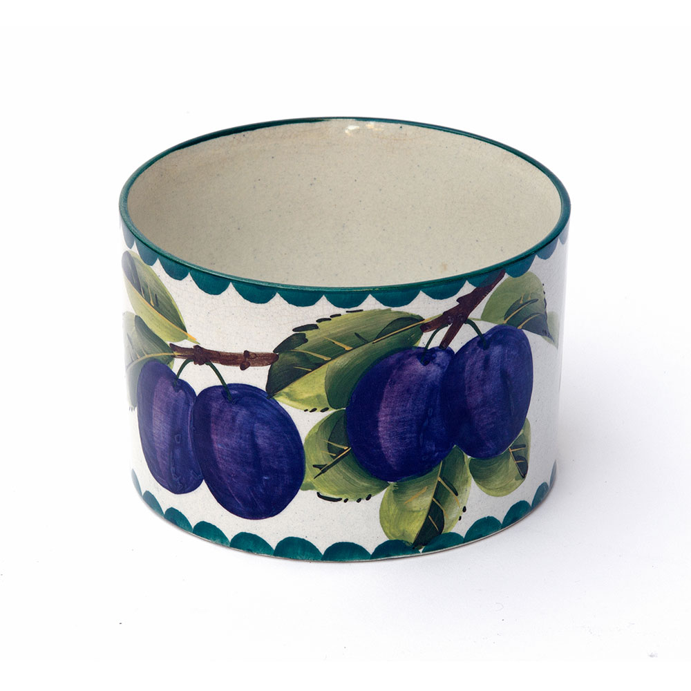 Antique Wemyss (stamped) pottery bowl with plum design. Circa 1900.