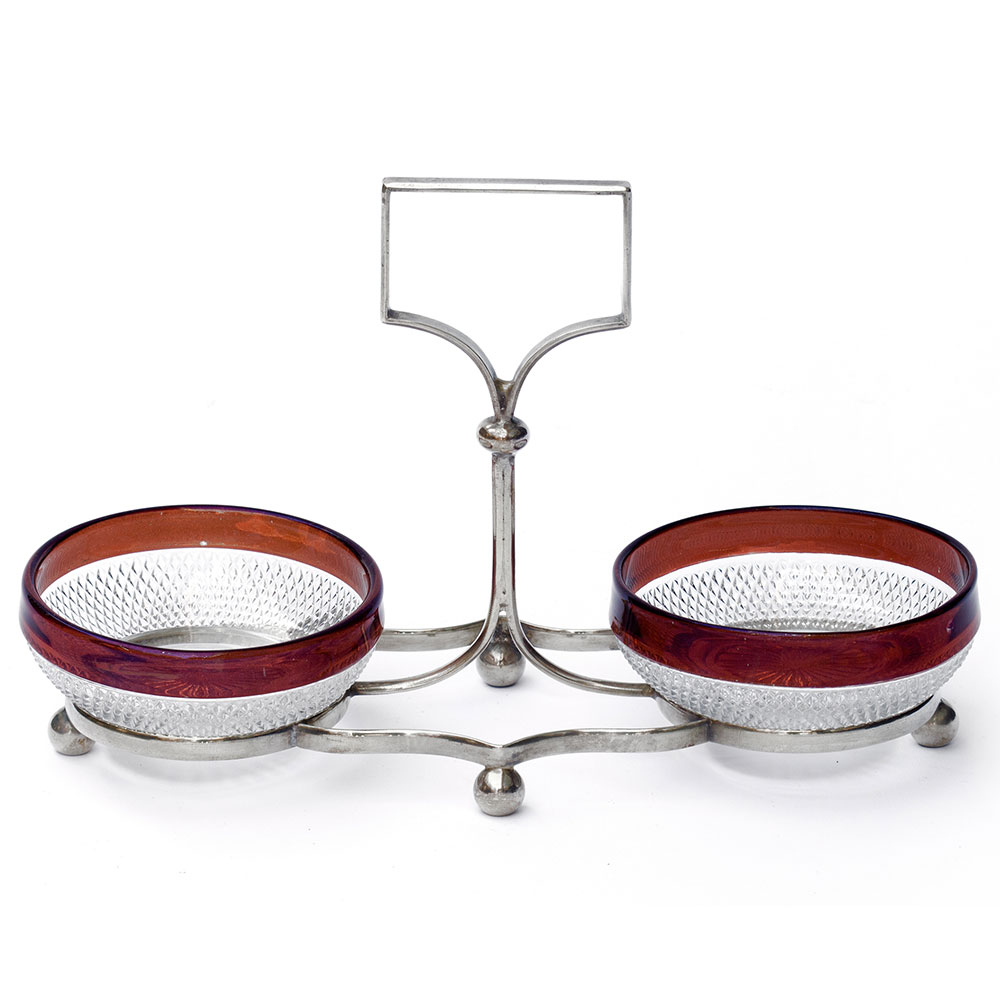 Antique cranberry glass rimmed dishes on silver plate stand. (c.1900)