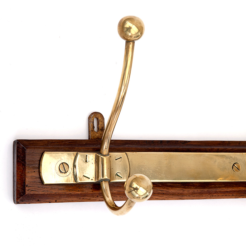 Triple French Brass Hook Rack on Original Wood Back