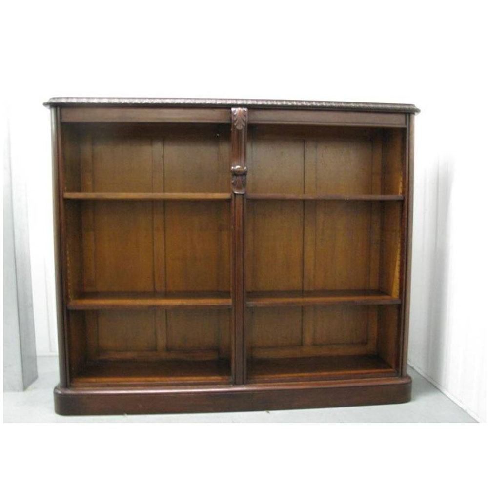 Antique Mahogany Open Book Case with Adjustable Shelves