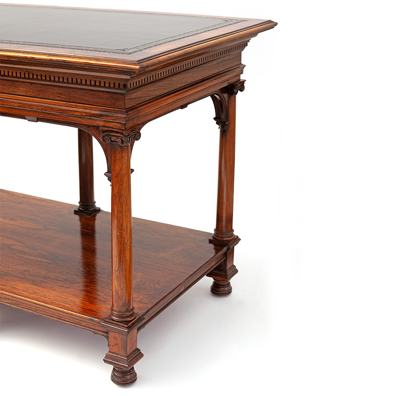 Howard & Sons Rosewood Gothic Revival Library or Display Table