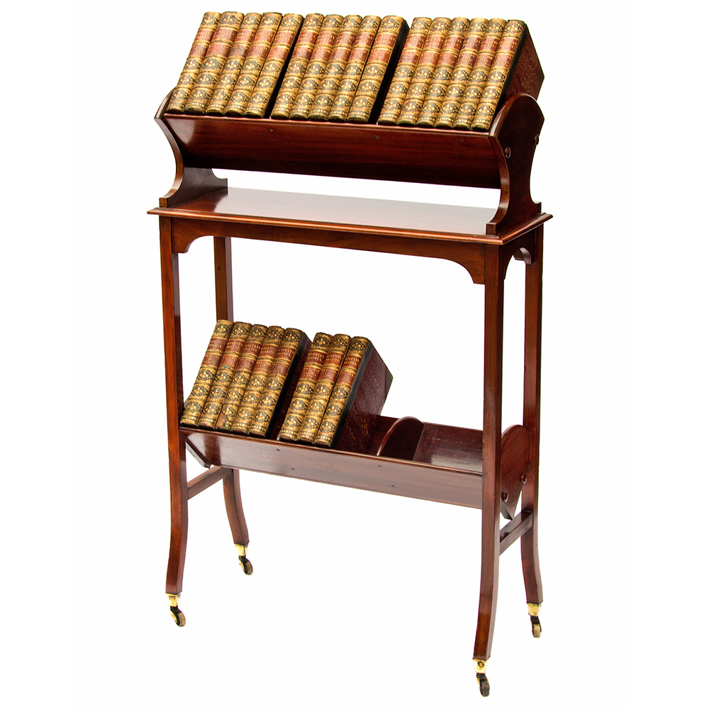 Mahogany Two Tier Sectioned Book Trough