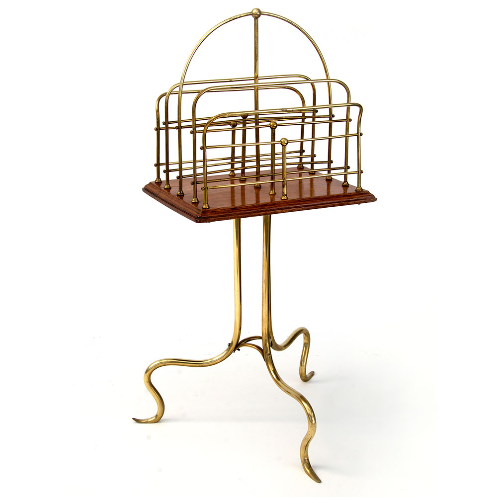 Antique Halls patent oak and brass revolving Canterbury magazine rack. (c.1890)