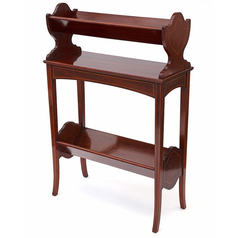 Two Tier Mahogany Book Trough with Boxwood Stringing