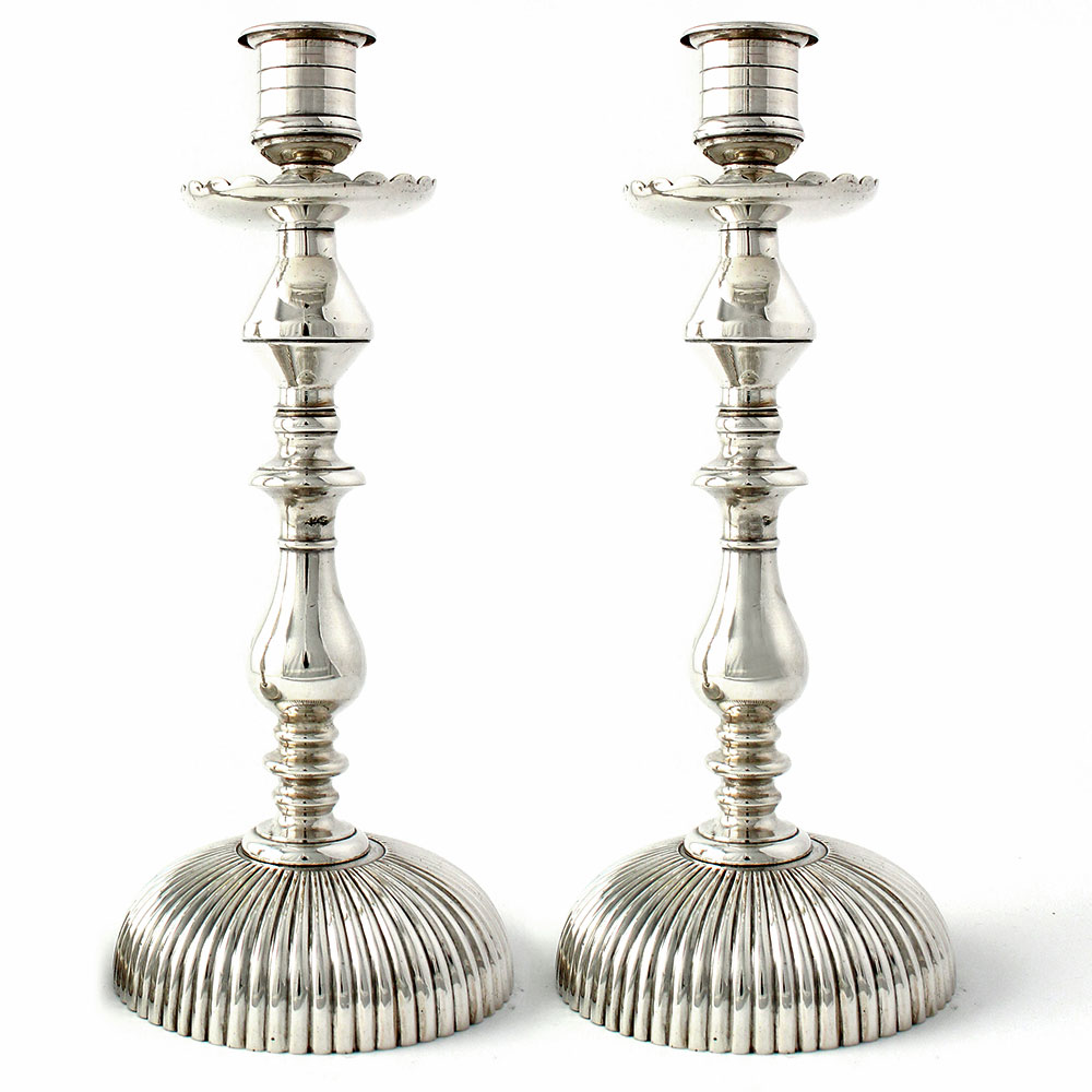 Pair of antique silver plate candle sticks c.1900.