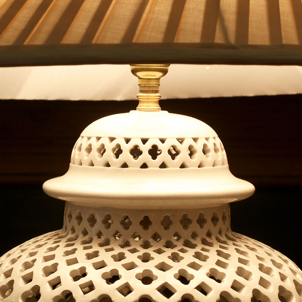 Glazed Pottery Pierced Lamp